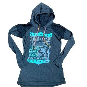 Panhandle rodeo T-shirt hoodie with lace shoulders